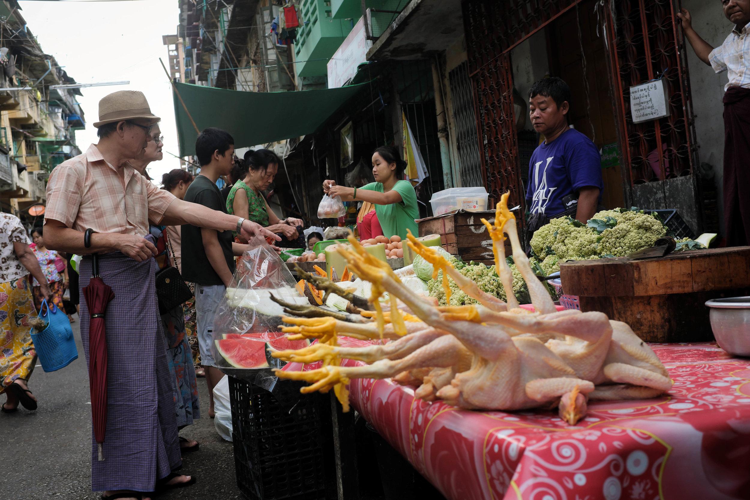 "Myanmar ""Jungle Chicken"" at the market in Yangon"
