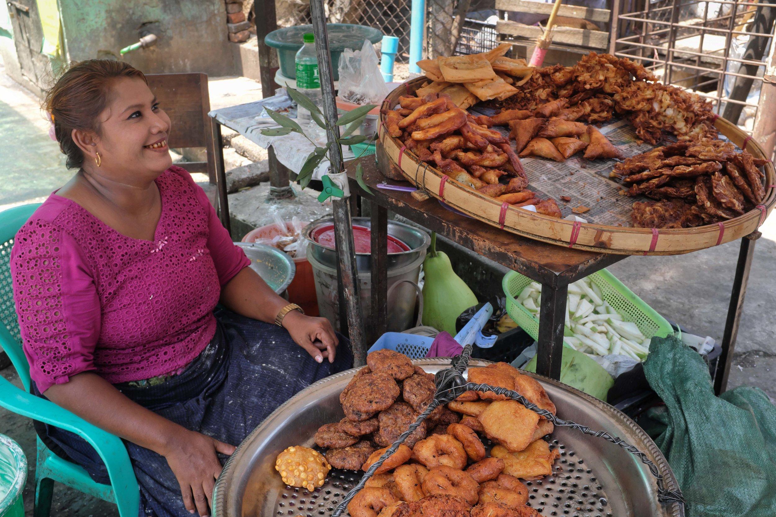 Fried street food snacks in Yangon