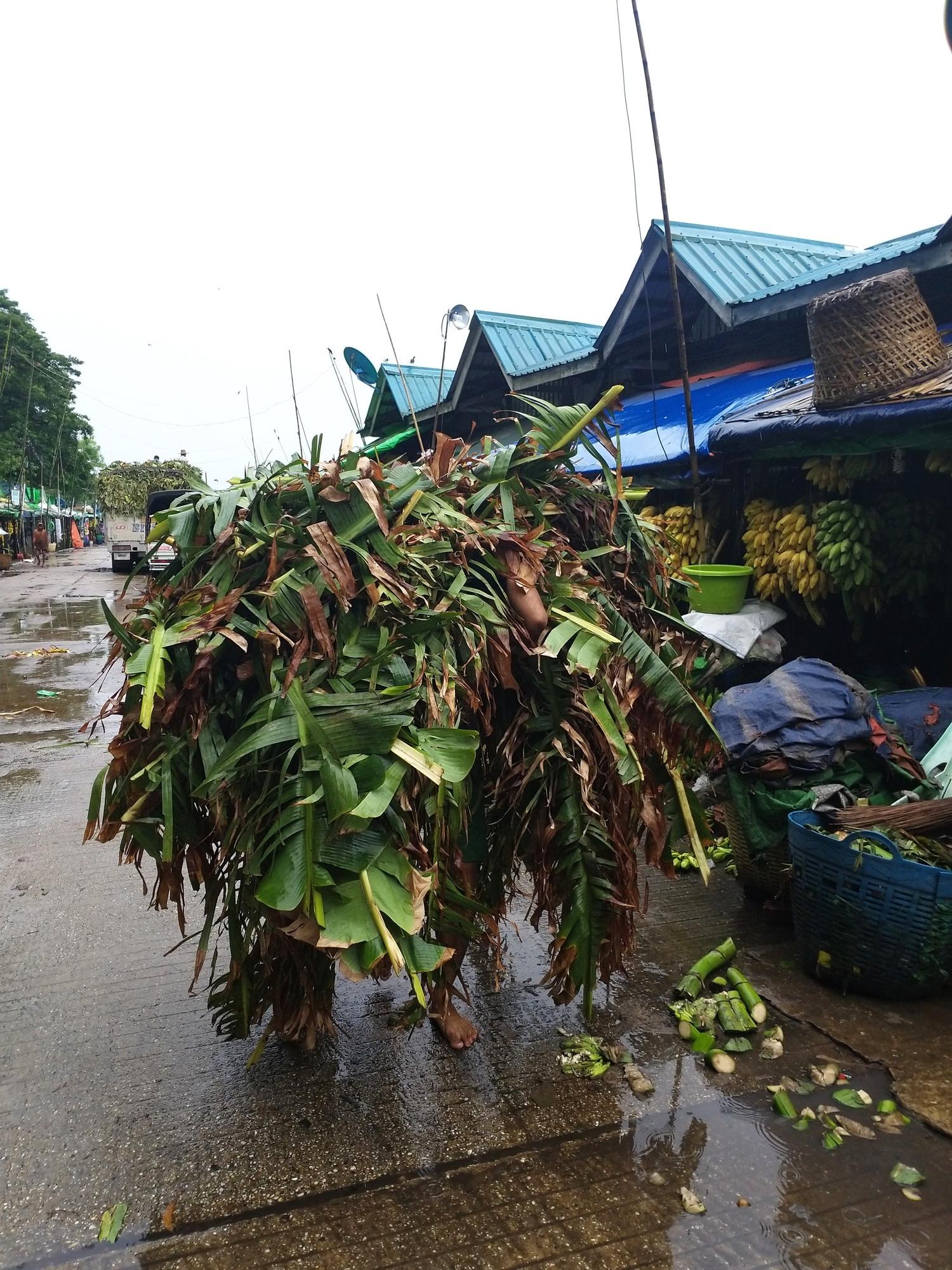Tidying up at the banana market