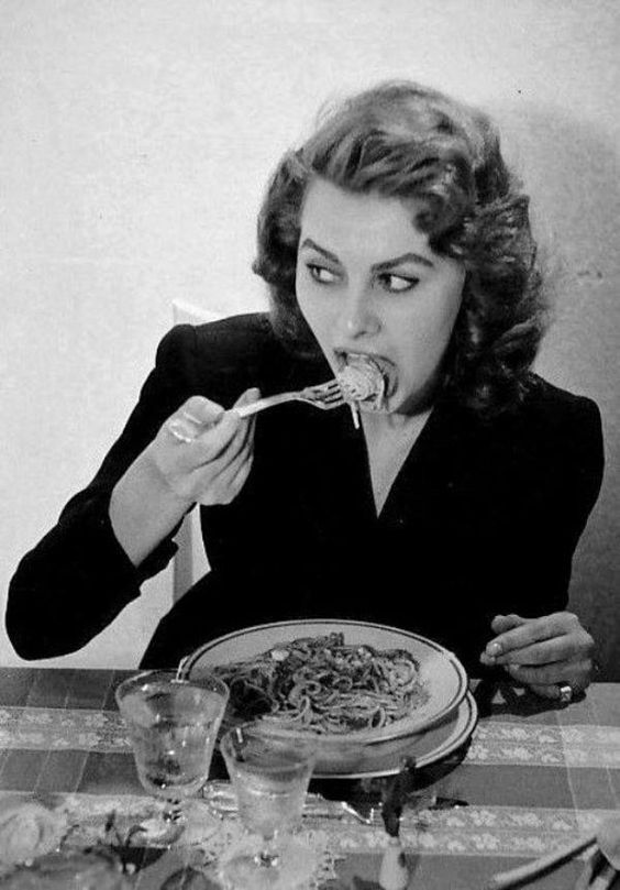 Sophia Loren eating pasta Source: tumblr