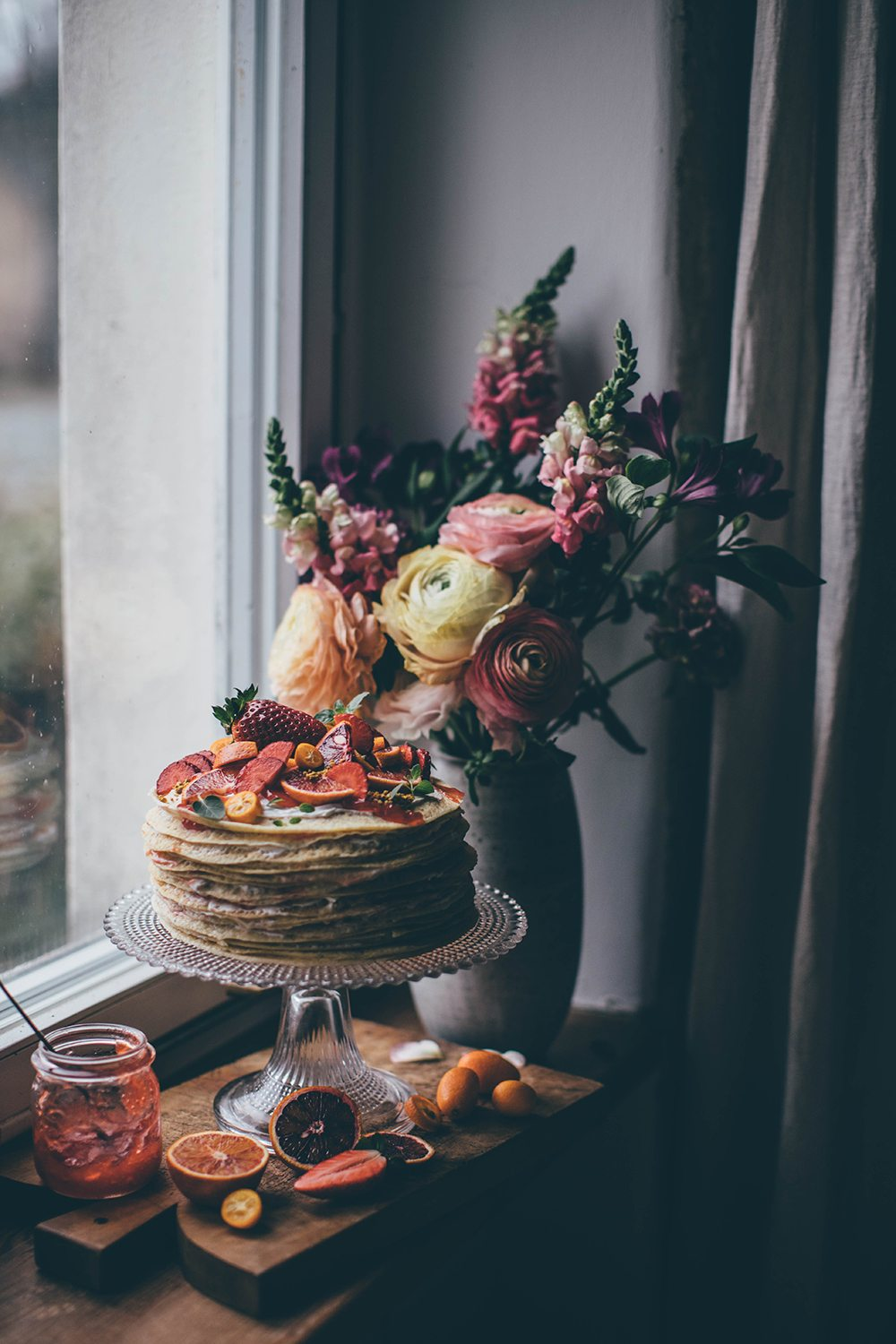 Blood Orange Crepe Cake with Ginger by Our Food Stories