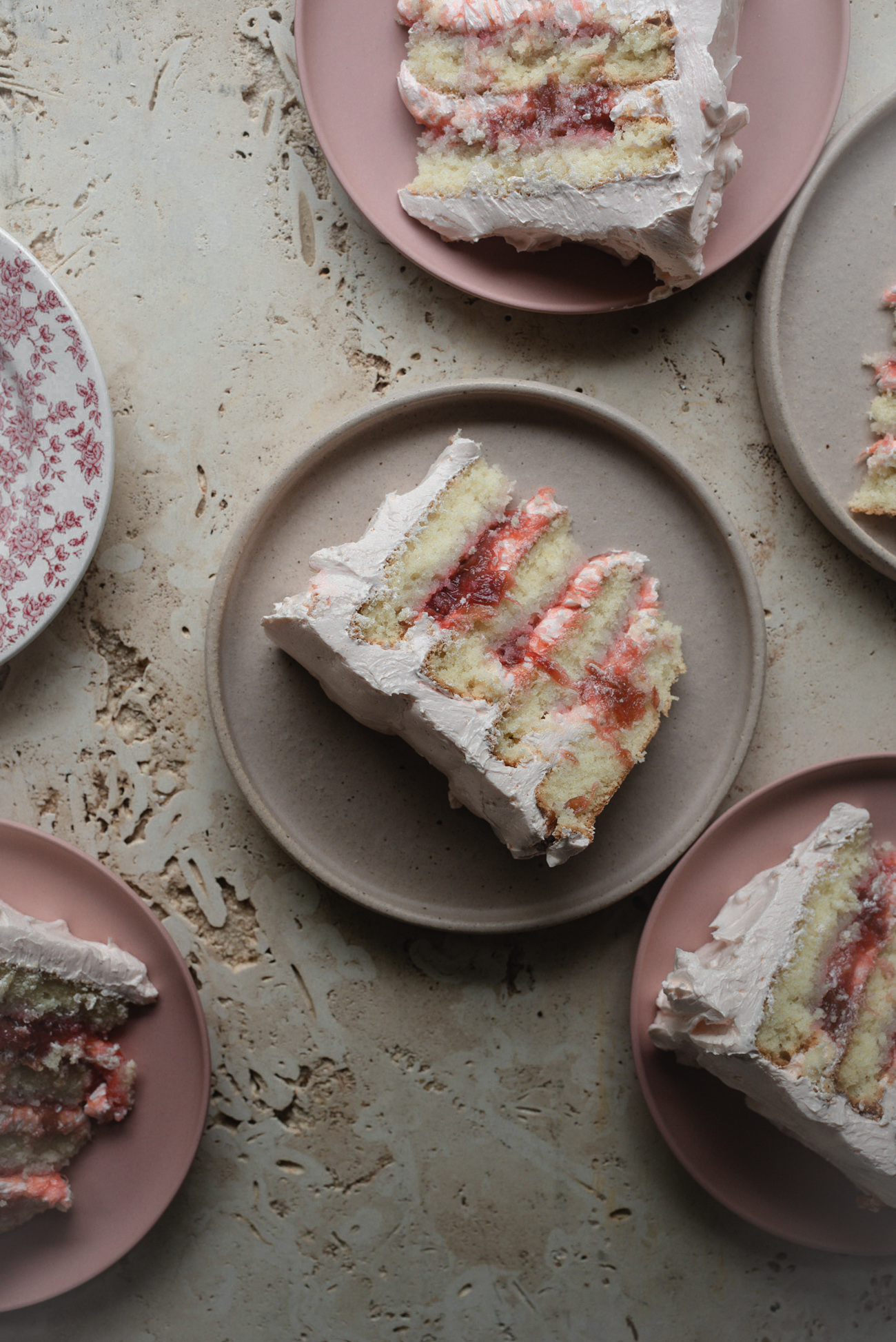 Rhubarb Rose Almond Cake with White Chocolate Meringue by Butter and Brioche