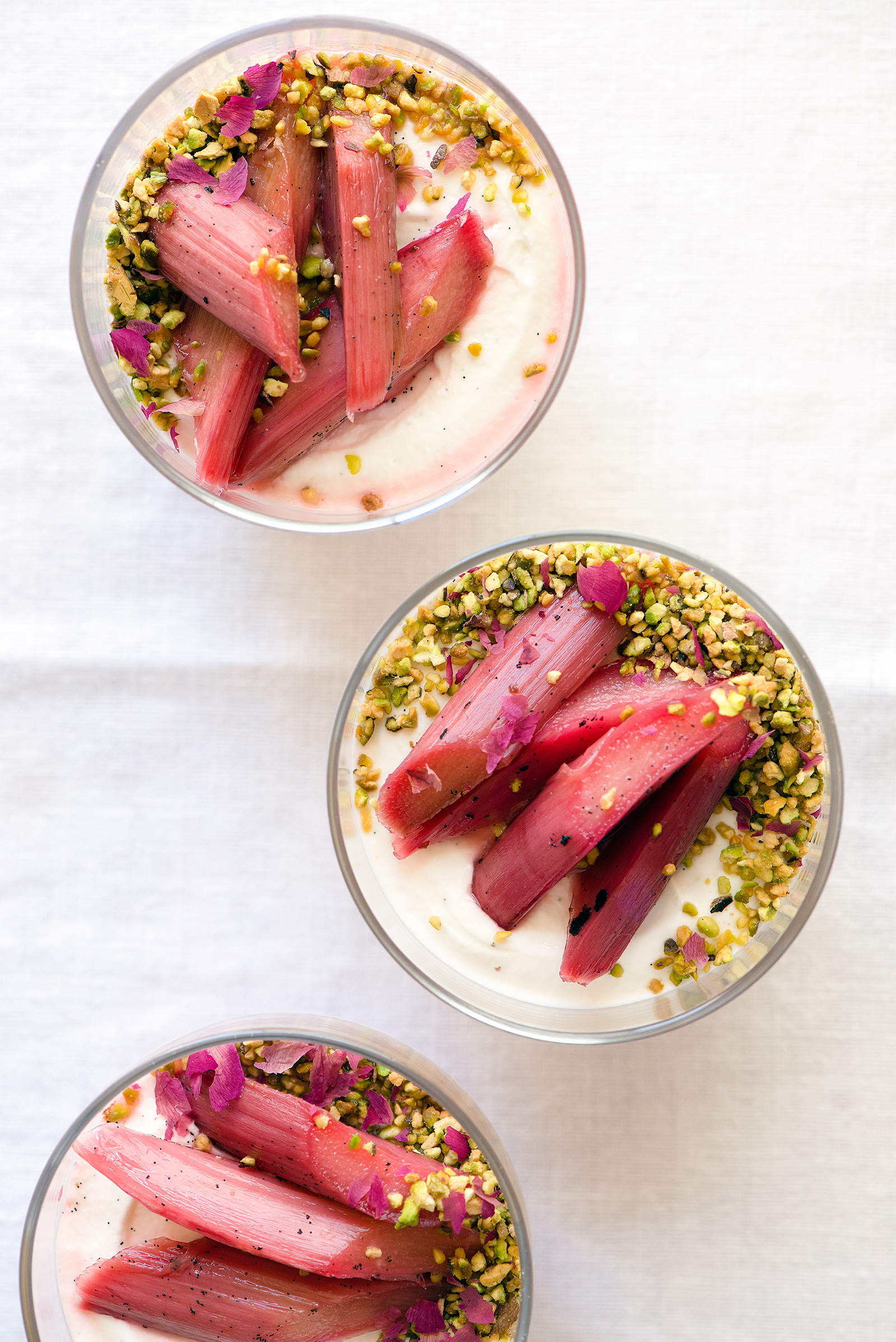 Labneh Mousse with Orange Blossom Rhubarb