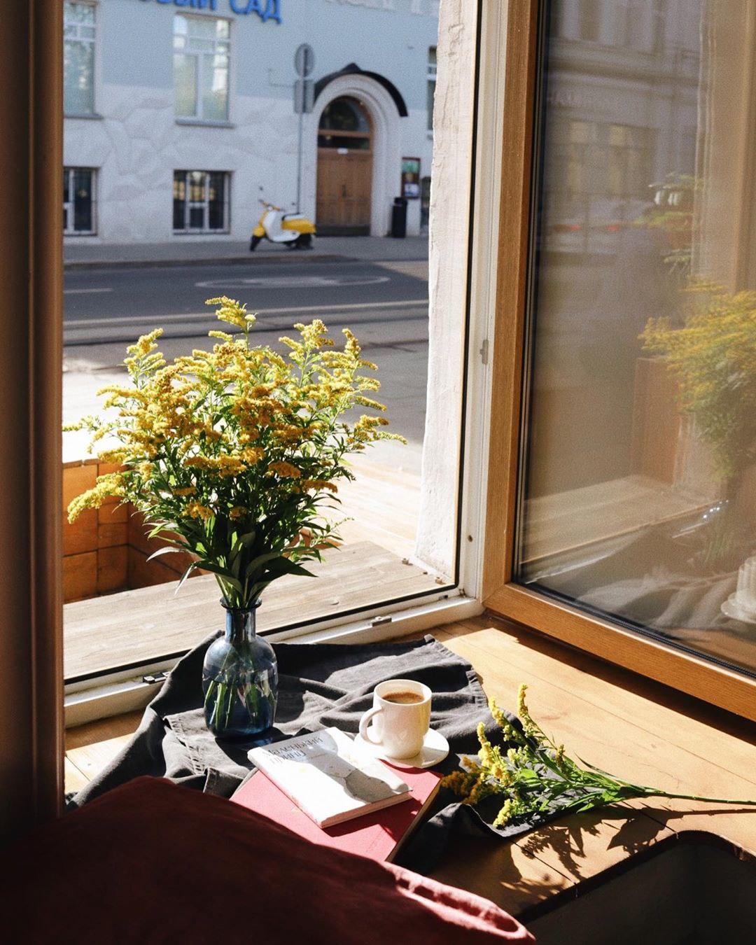 Латте, цветы и книги в hygge кофейне Розетка и кофе