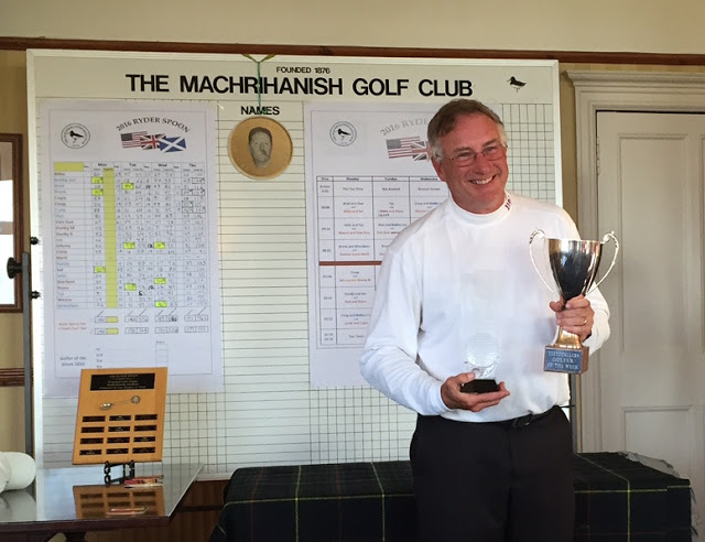 Golfer of the Week -- American Craig Eisentrout, one of my cherished lifelong friends, claims the spoils in the individual competition at Machrihanish. To his left is the prestigious Ryder Spoon, retained once again by the US in its annual battle with the UK.