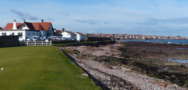 A Tee with a View --  Though you'll spend your time on the links that flow in the other direction, make sure when you arrive at the 4th tee to look back toward the town of Dunbar. A sight not to be missed.