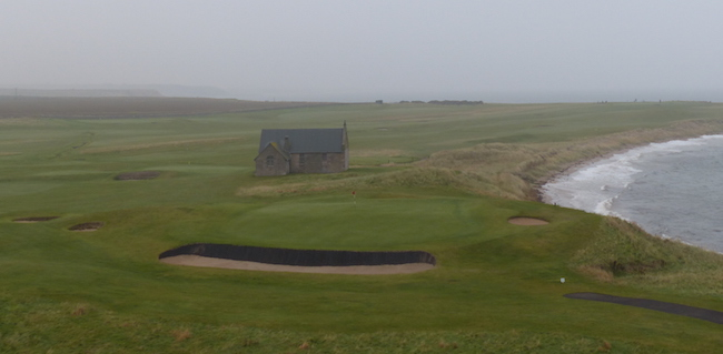 General Dreariness -- Though not exactly the local tourist board's dream day, Crail (here from the tee of the par 3 14th hole) still exudes an authentic and unadorned links appeal.