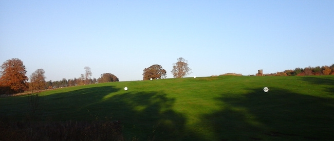 Field of Swings -- Here's the view from the grass tee at the Roxburghe Golf Course's practice range. Hitting uphill can be a bit of a downer or excellent training for less taxing shots on the course -- depending on your frame of mind.