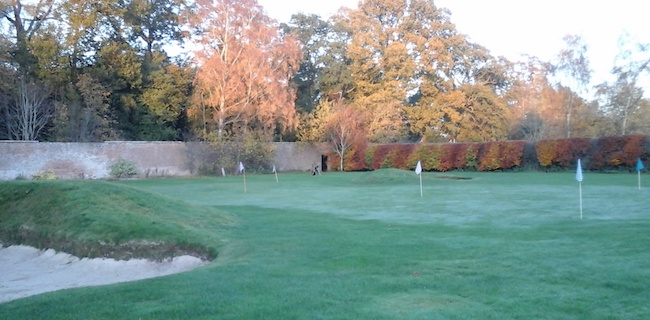 Wedge Work -- Here's a view of the Roxburghe's short game practice area, situated within a lovely walled garden. So far, every time I've come here, I've had the place to myself. Nice!