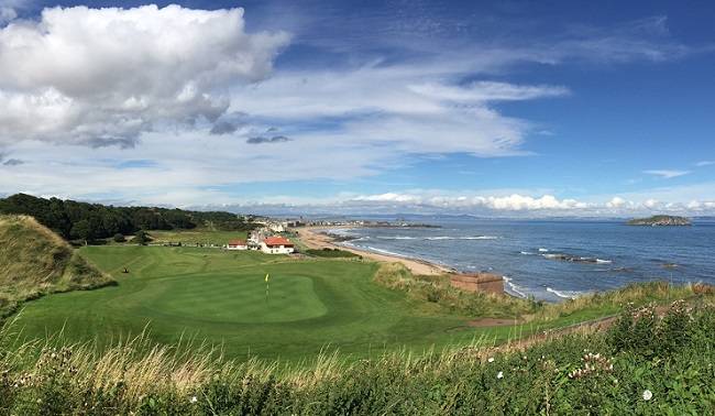 Stunning Start -- Here's the view from the back of the first green looking toward the clubhouse and, further out, the town of North Berwick.