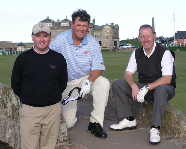 Building Bridges -- Jamie Gardner (left) joins Jim Kelechi (middle), owner of Linville Falls GC in North Carolina and Brian Clarke (right) of Arbroath, Scotland on the iconic Swilcan Bridge along the 18th hole at the Old Course.