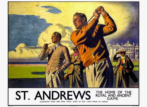 The Advertisement --  This example of commercial art was underwritten by the London and North Eastern Railway to promote travel to far-flung destinations like St. Andrews along the Firth of Forth. It was imagined and rendered by Arthur C. Michael in 1939. Something tells me a framed copy will be hanging on my office wall before it's all said and done. Superb!