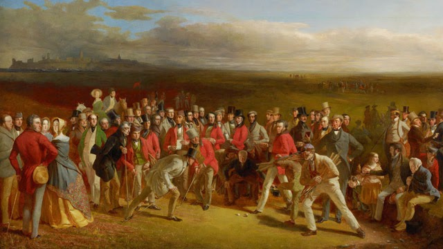 The Golfers –  This is considered to be the most famous golf painting in existence and, to their credit, the Scottish National Gallery secured the original for its exhibit. It was created by Charles Lees in 1847 and depicts an impassioned match between two red-coated members of the Royal and Ancient Golf Club back in the days just prior to the rise to prominence of Old Tom Morris, arguably the father of the modern game. To some extent, the work is more journalistic than artistic as most of the people included in the frame actually existed. Intriguing!