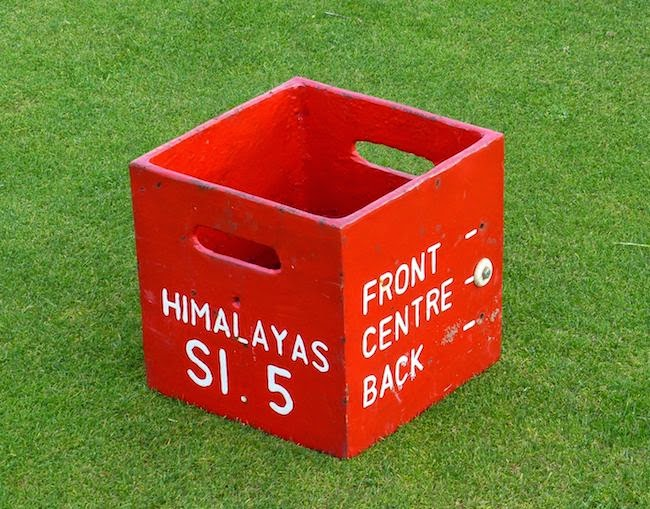 Out of the Box -- The tee marker on the blind par 3 5th hole, the famous Himalayas, doubles as a caddie offering a clue where the pin is located.