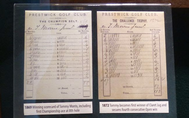 The Two Tommys' Tallies -- Photocopies of scorecards kept by the father-son duo credited with launching professional golf.