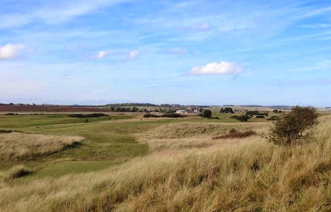 Braid's Brilliance -- Here's a wide view of the 16th hole at Goswick, a 424-yard par 4 off the competition   white tee markers.