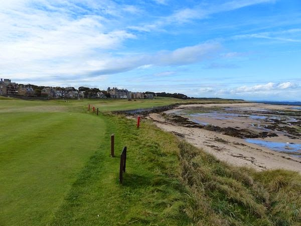 A Natural Beauty -- The view from the tee of the West Link's 2nd hole. The 414-yard par 4 is appropriately named Sea for its view of the Firth of Forth.