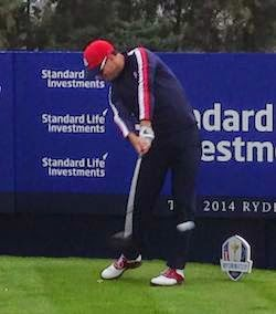 Sponsorship Opportunity? -- Jimmy Walker unleashes a drive.  Later I noticed that Johnny Walker is a major Ryder Cup sponsor  .Perhaps the two should talk.