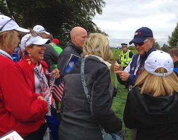 Aflutter for Floyd -- Vice-Captain Raymond Floyd greets grateful   galleryites.   Even at 72, the man still exudes charisma.