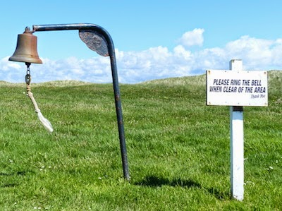 A Bell Ringer -- Lets players on the 3rd tee know that the   blind fairway   ahead is clear and ready for takeoff.