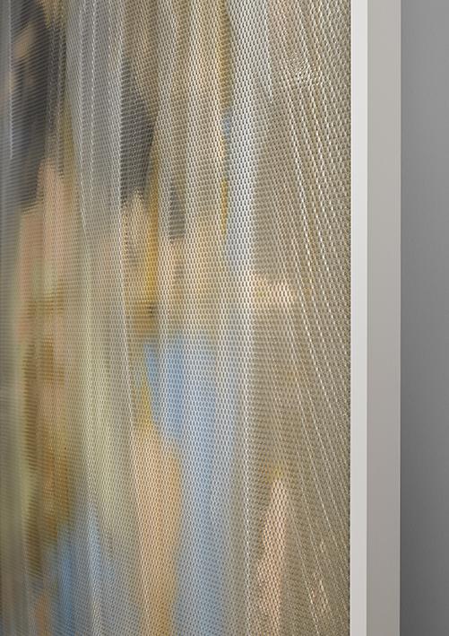 Eidolon / Part VII,  2013 - Side view Oil, acrylic and latex on canvas beneath textured Plexiglas