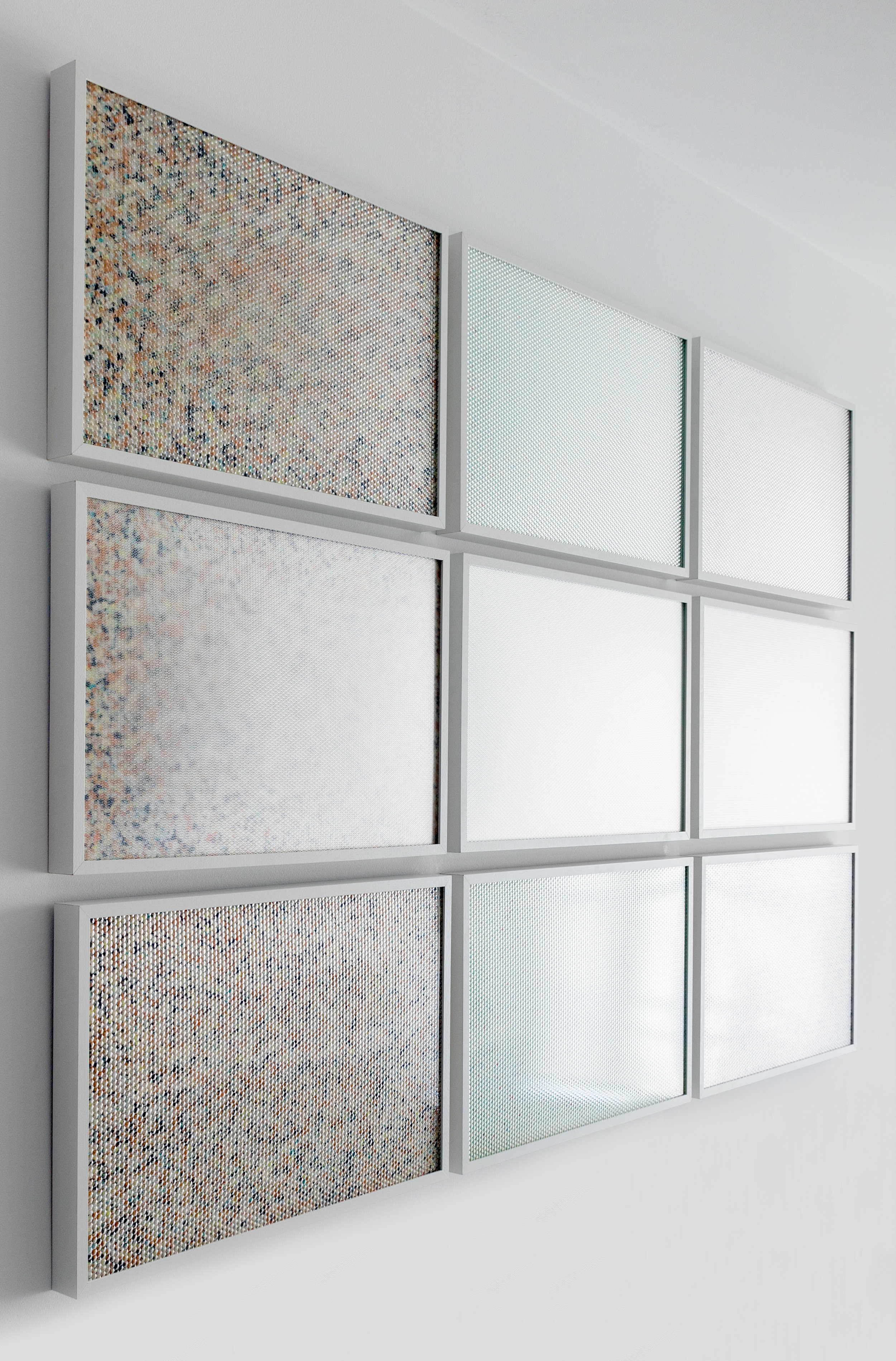 Molecular,  2015 - Side view 9 panel grid, painted insulation foam beneath structured Plexiglas