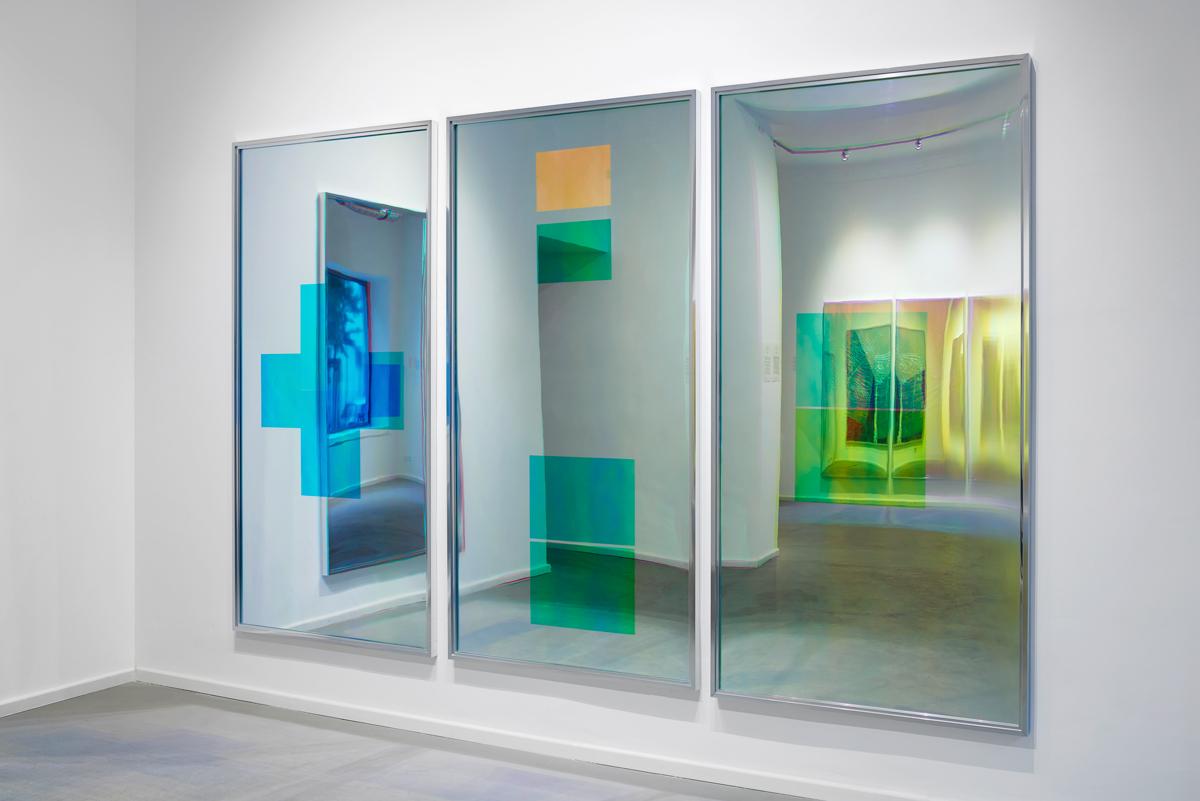 Spiegel im Spiegel / Part I, II, III, IV (Quadriptych),  2014 - Installation view Acrylic foil on mirror beneath Radiant Plexiglas, aluminium frame structure 400 x 200 cm (157 x 79 in)