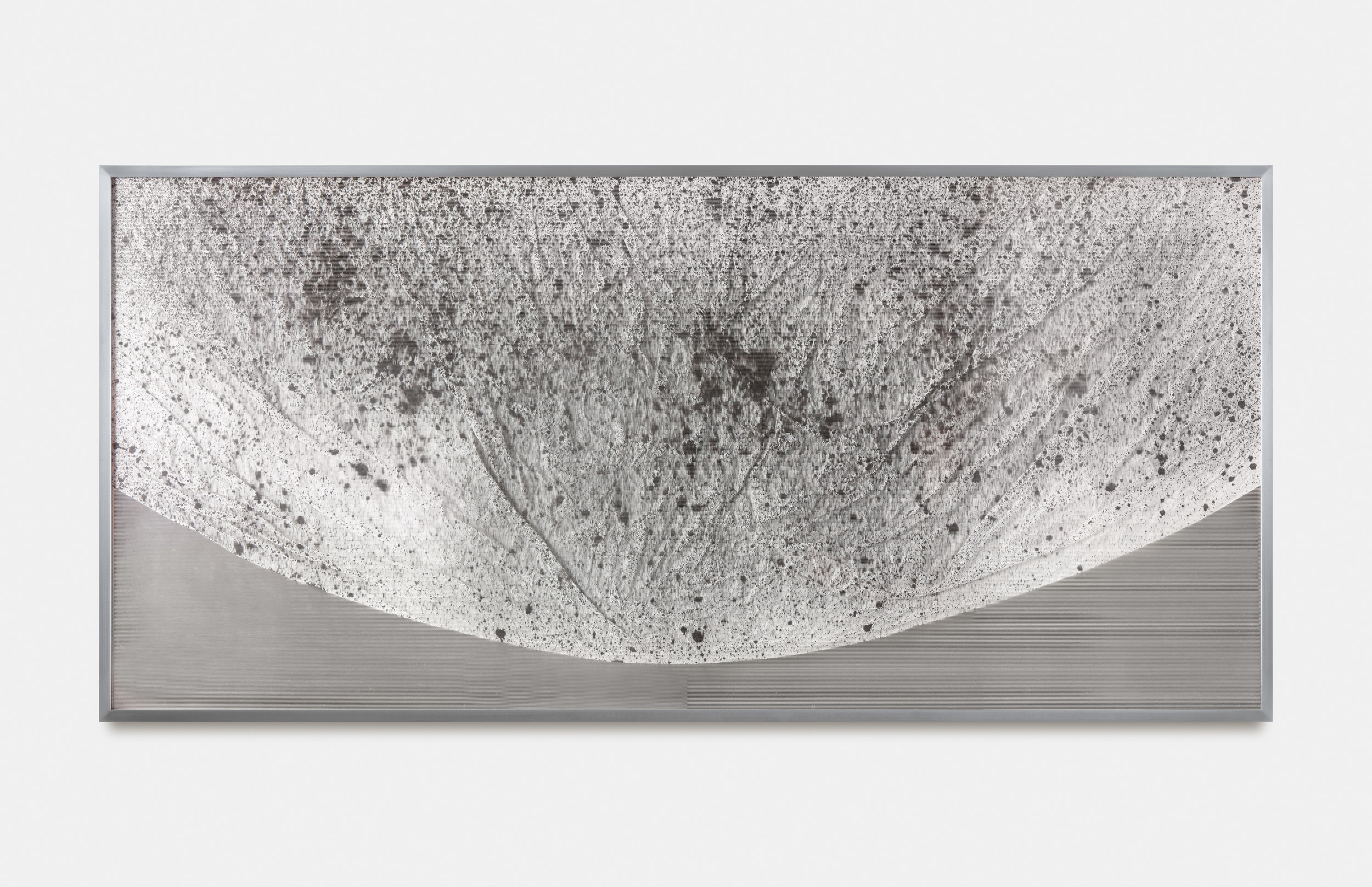 Verklärte Nacht (Transfigured Night) / Part III,  2018 Ink on Xuan paper on mirror beneath linear Plexiglas, aluminium frame 150 x 70 cm (59 x 28 in)