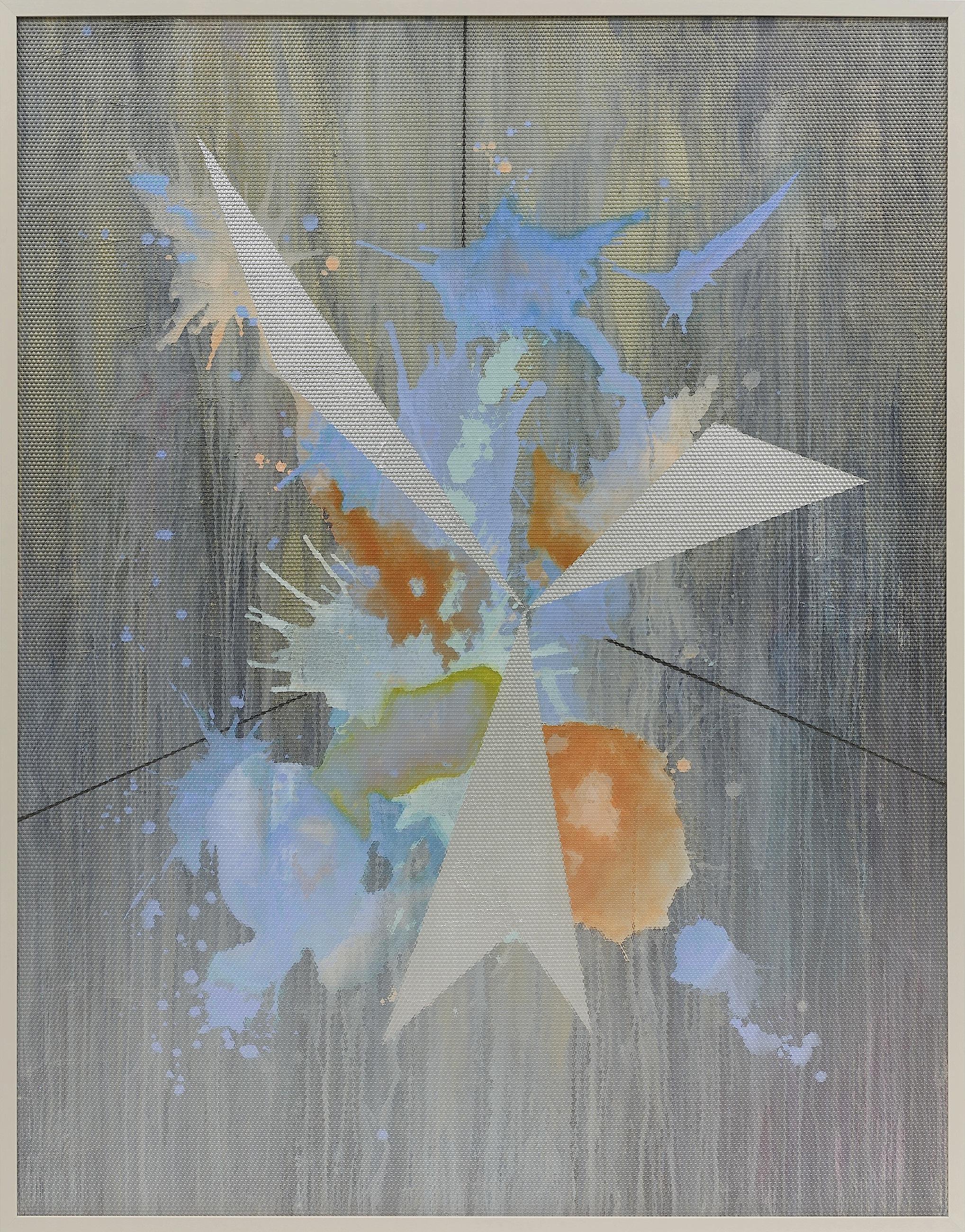 Eidolon / Part III,  2012 Oil and acrylic on canvas beneath textured Plexiglas 180 x 140 cm (71 x 55 in)