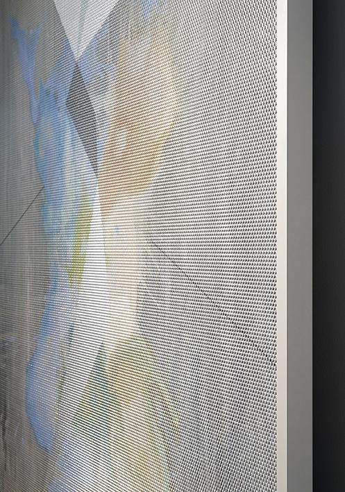 Eidolon / Part IV,  2012 - Side view Oil and acrylic on canvas beneath textured Plexiglas