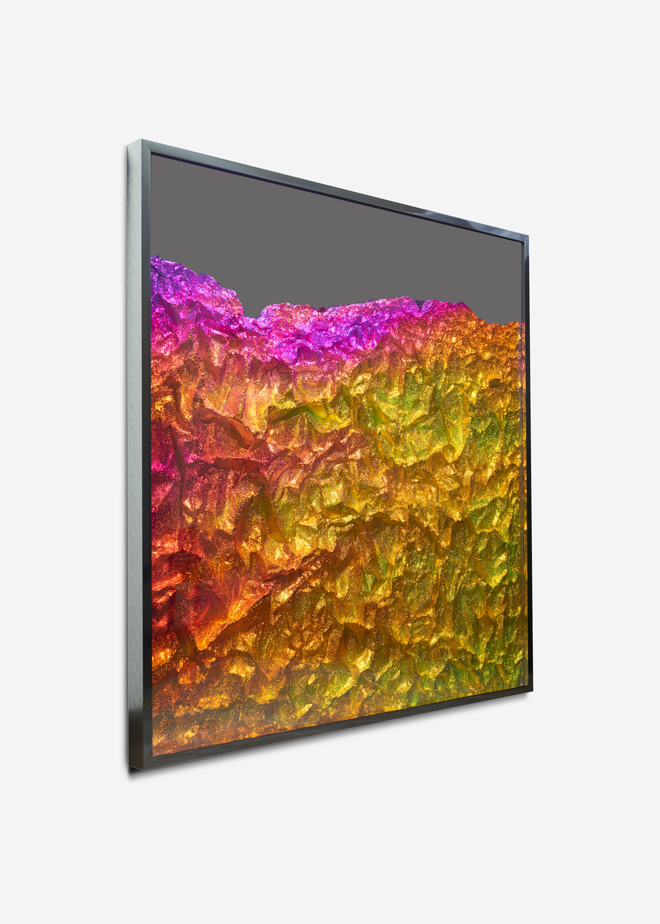 Strata Obscura / Part VII,  2018 - Side view Industrial aluminium on mirror beneath iridescent Plexiglas, aluminium frame