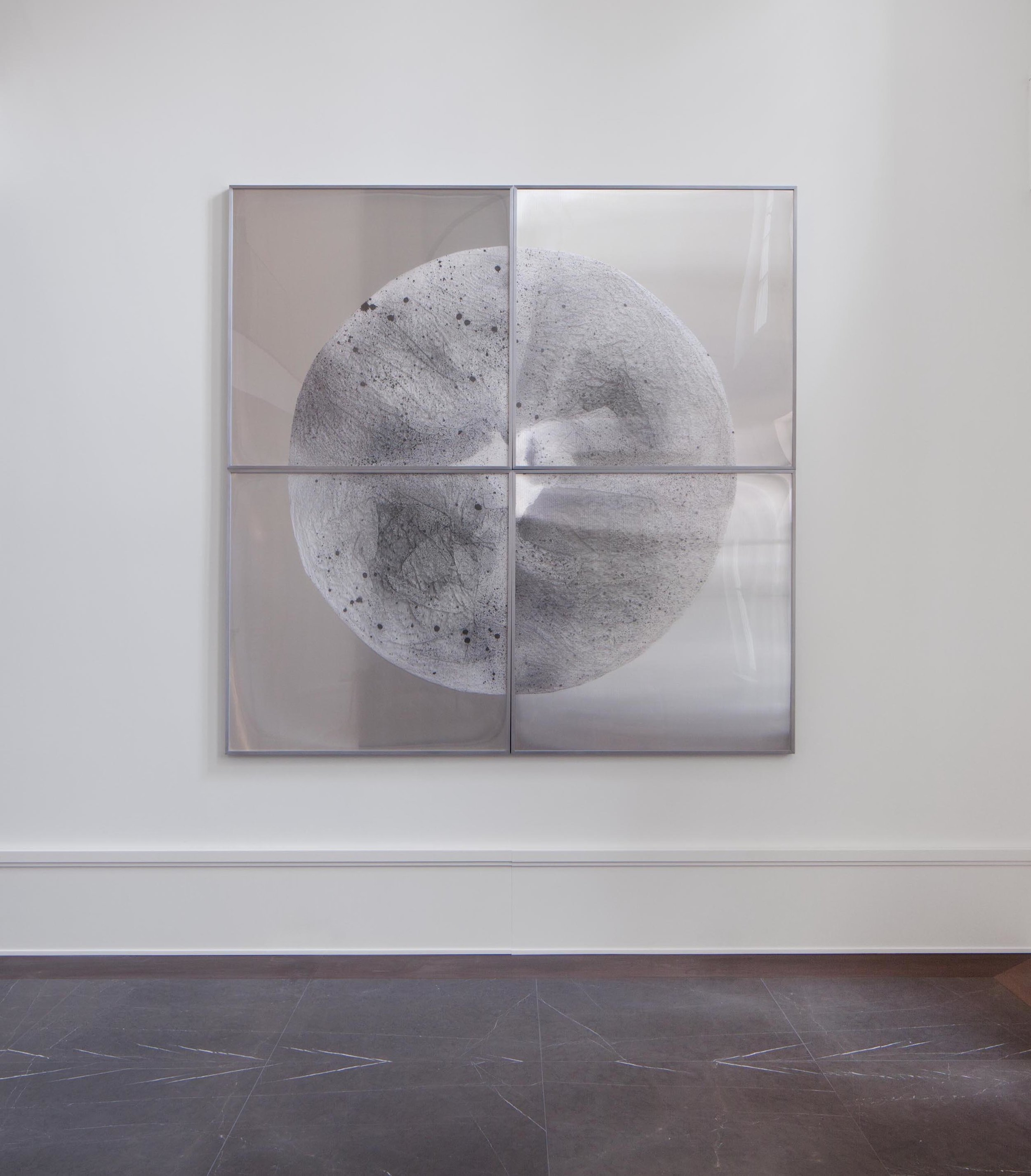 Verklärte Nacht (Transfigured Night) / Part IV (Quadriptych),  2018 - Installation view Ink on Xuan paper on mirror beneath linear Plexiglas, aluminium frame 240 x 240 cm (95 x 95 in)