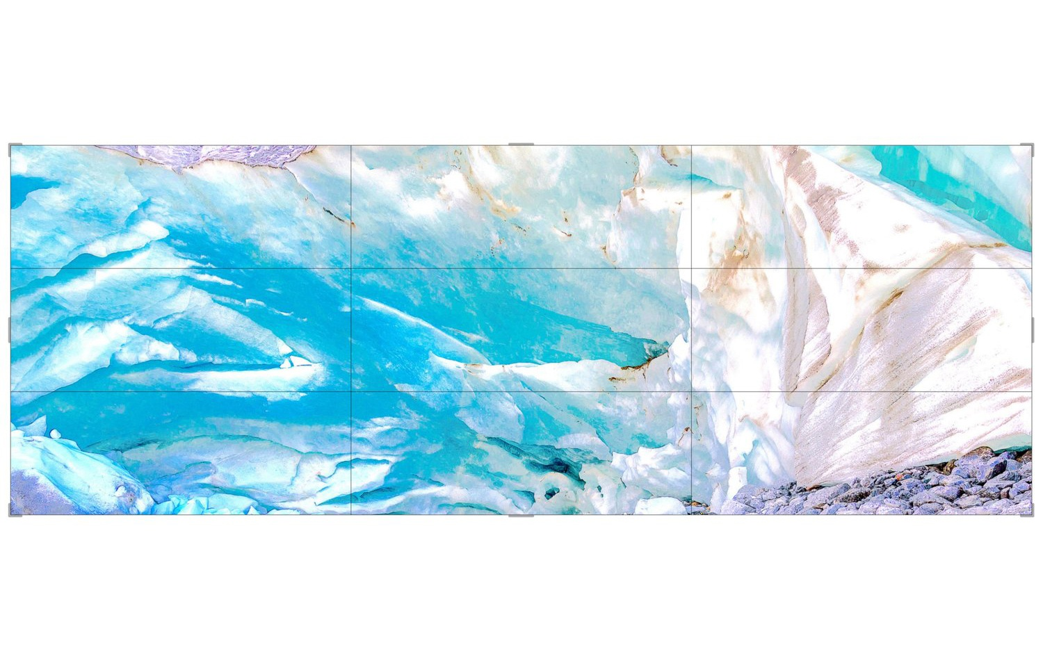 Piqaluyak / Part VII,  2019 9 panel LED screens 540 x 210 cm (213 x 83 in)