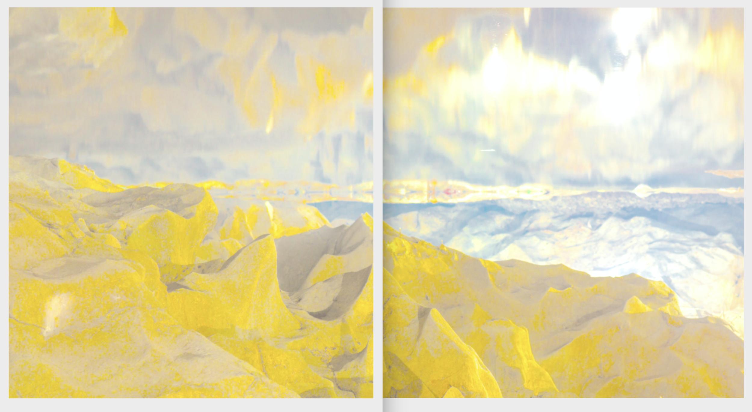 Beyond the Oecumene / Part II (Diptych),  2019 Aquarelle, wax pastels, UV-print on aluminium beneath marbled Plexiglas 300 x 160 cm (118 x 63 in)