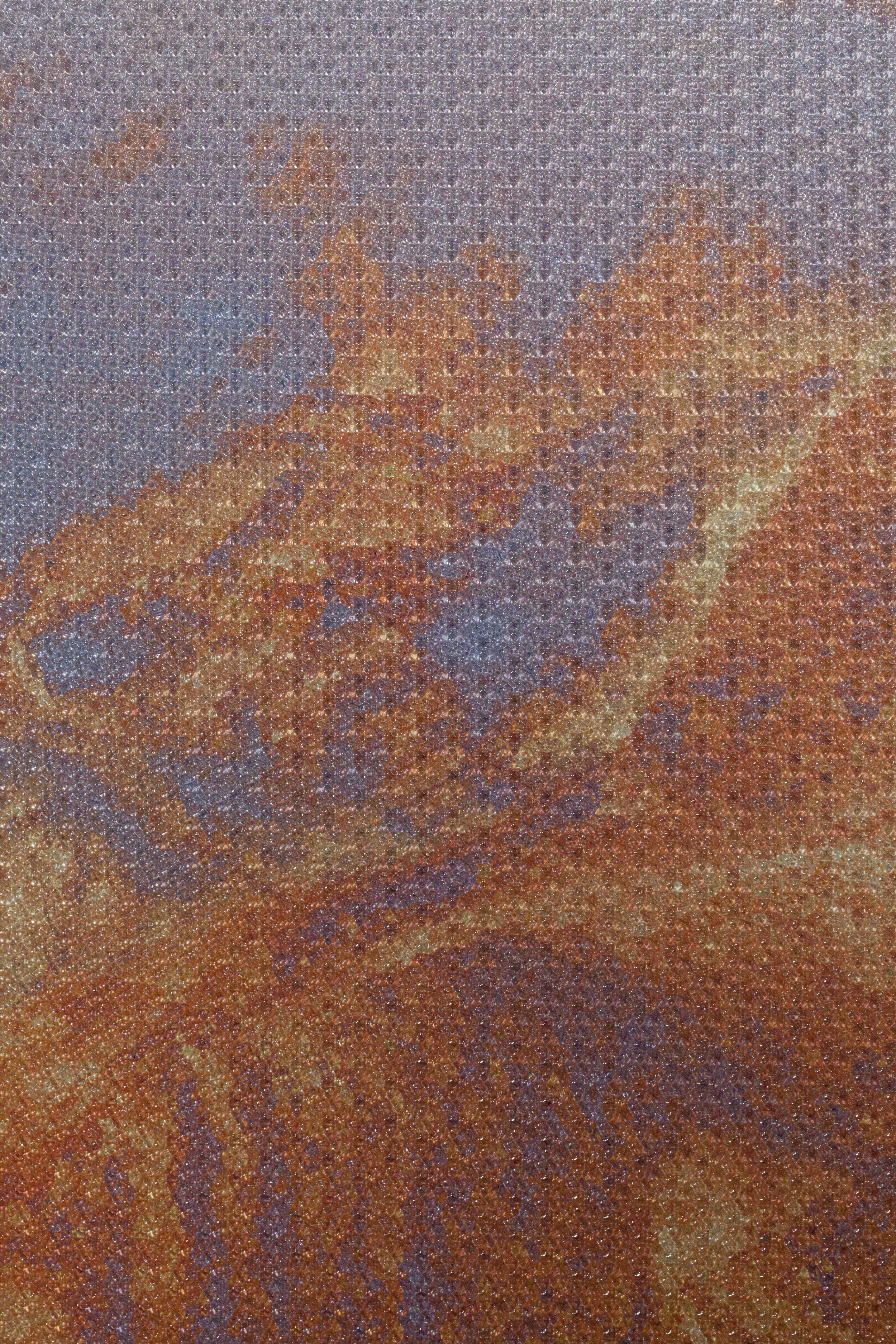 Beyond the Oecumene / Part IX,  2019 - Detail Aquarelle, wax pastels, UV-print on aluminium beneath marbled Plexiglas