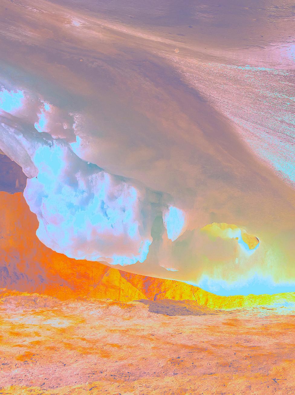 Beyond the Oecumene / Part III,  2019 Aquarelle, wax pastels, UV-print on aluminium beneath linear Plexiglas 190 x 150 cm (75 x 59 in)
