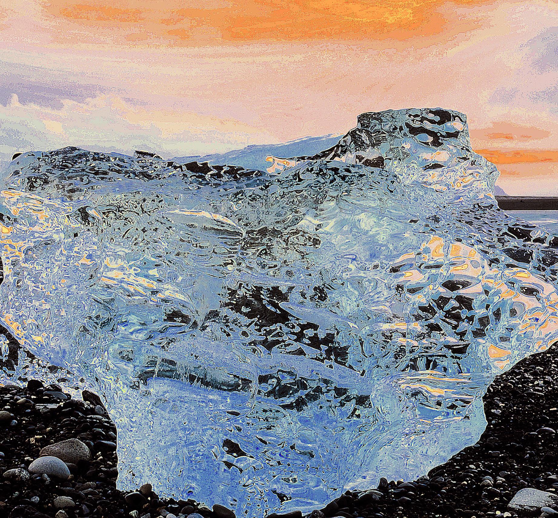 Beneath the Cryosphere / Part III,  2019 Aquarelle, wax pastels, UV-print on mirror beneath structured Plexiglas 120 x 120 cm (47 x 47 in)