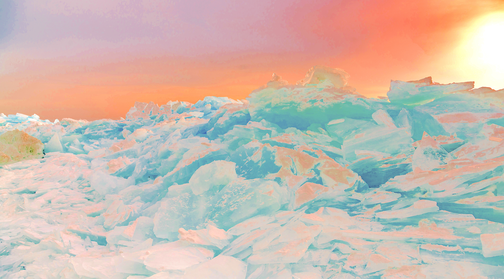 Beneath the Cryosphere / Part VIII,  2019 Aquarelle, wax pastels, UV-print on mirror beneath structured Plexiglas 190 x 120 cm (75 x 47 in)
