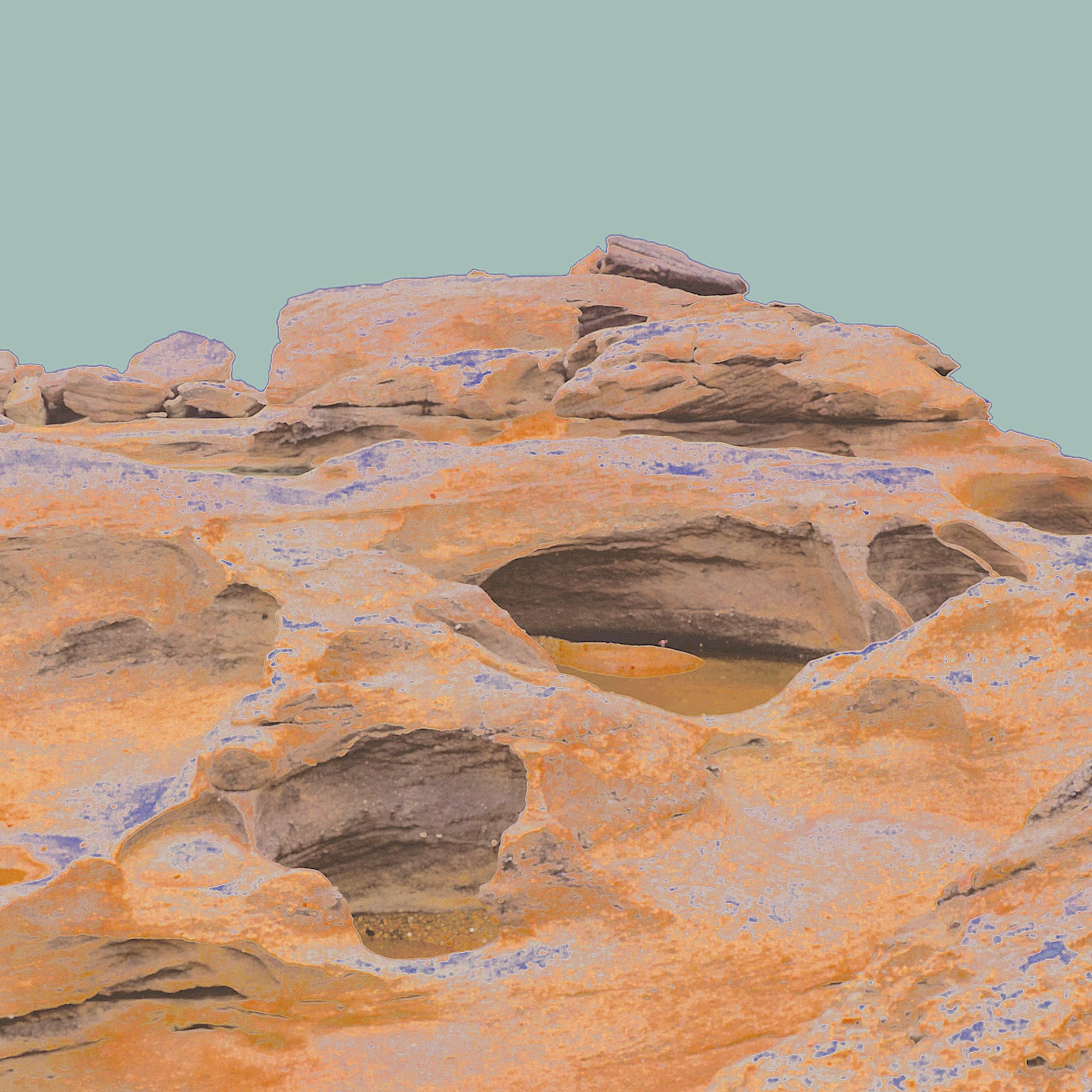 Beyond the Oecumene / Part XXXII,  2019 Wax pastels, UV-print on aluminium 130 x 120 cm (51 x 47 in)