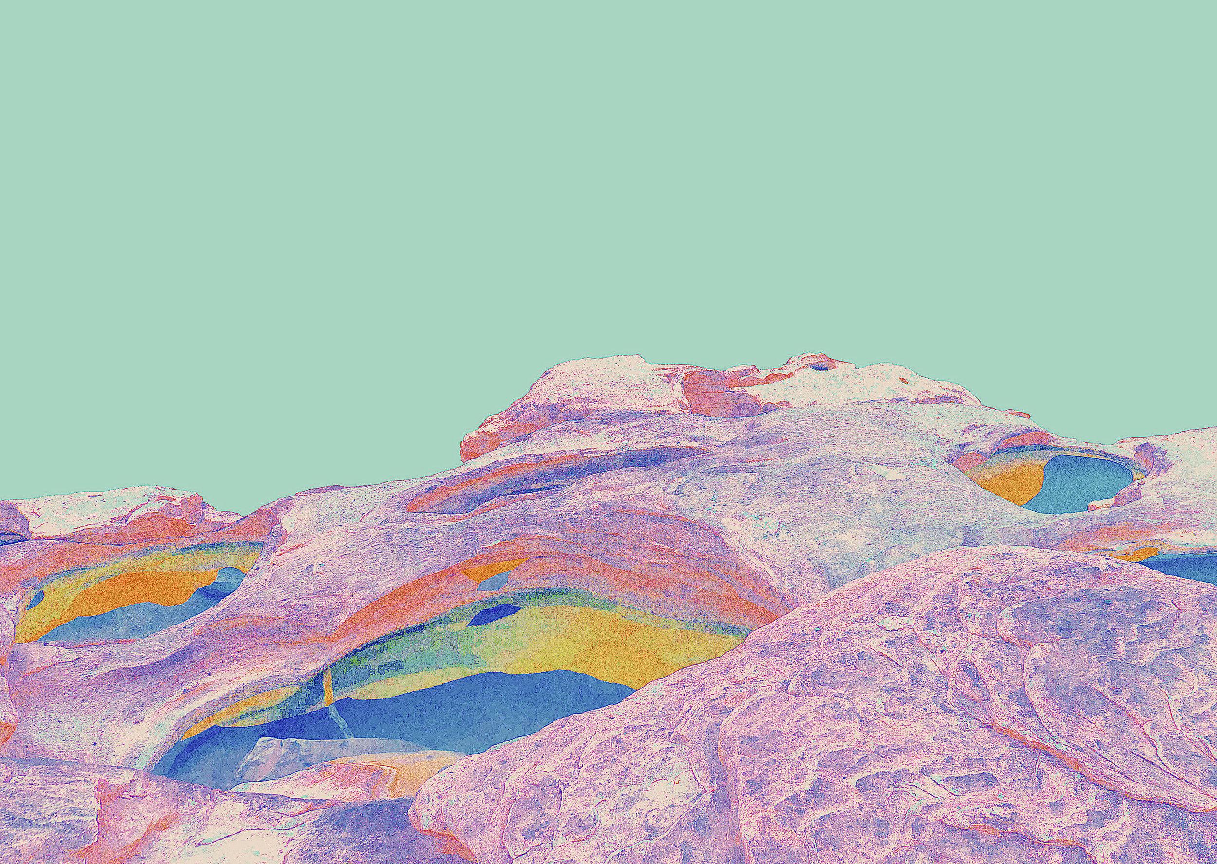 Beyond the Oecumene / Part XXXIII,  2019 Wax pastels, UV-print on aluminium 150 x 120 cm (59 x 47 in)