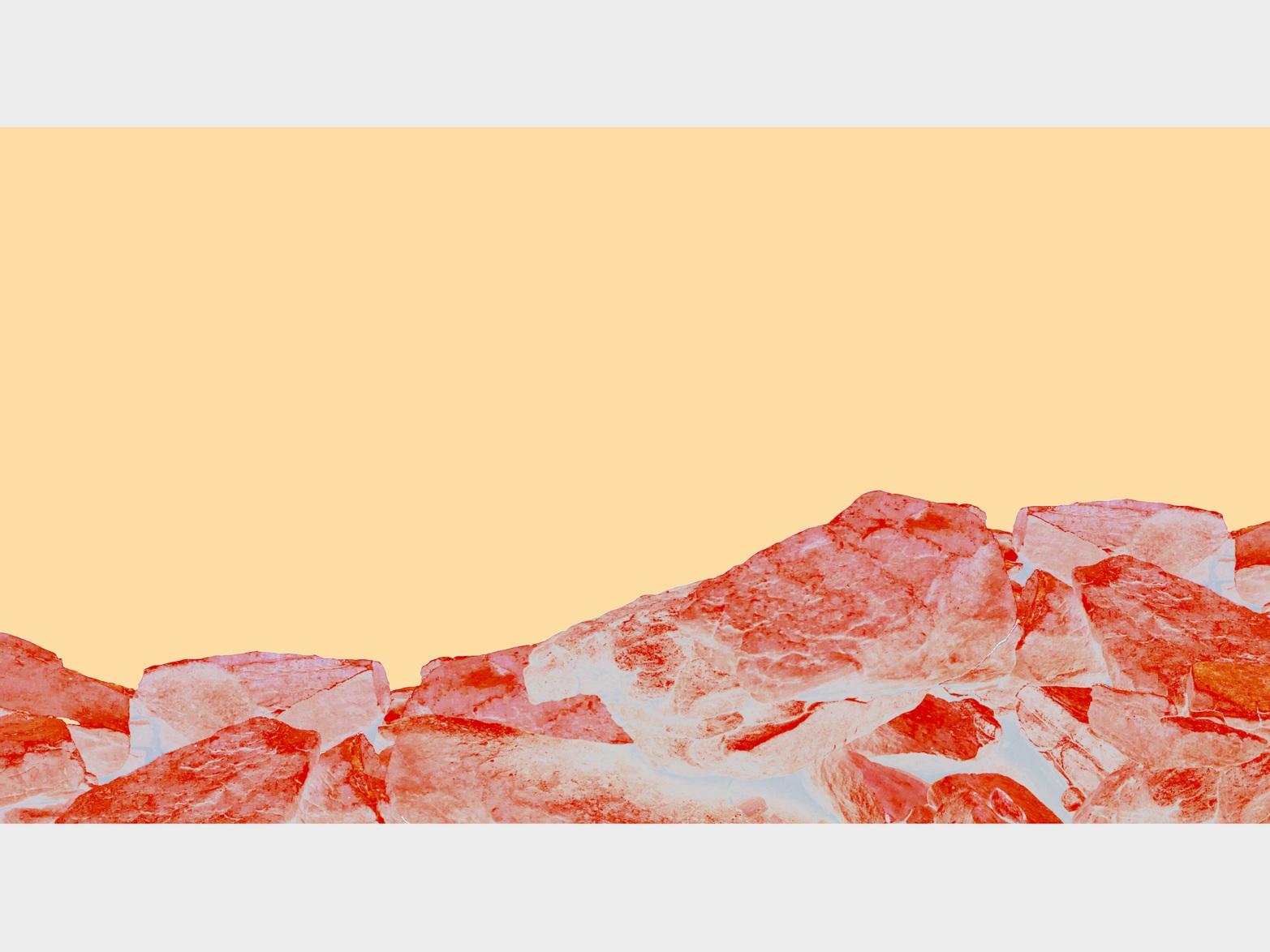 Beyond the Oecumene / Part XXXI,  2019 Wax pastels, UV-print on aluminium 200 x 120 cm (79 x 47 in)
