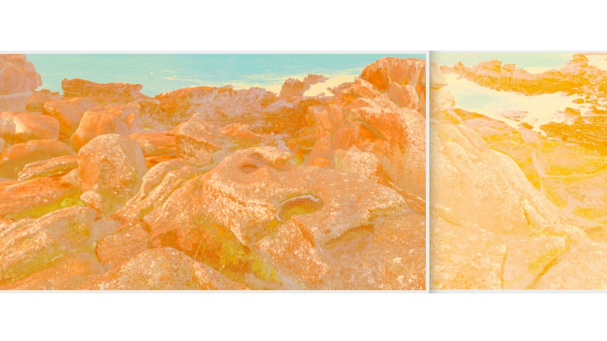 Beyond the Oecumene / Part XVI (Diptych),  2019 Wax pastels, UV-print on canvas 300 x 100 cm (118 x 39 in)