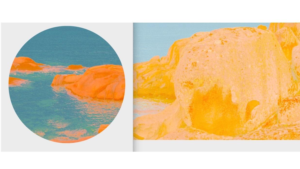 Beyond the Oecumene / Part XIX (Diptych),  2019 Wax pastels, UV-print on gold Alu-dibond 300 x 100 cm (118 x 39 in)