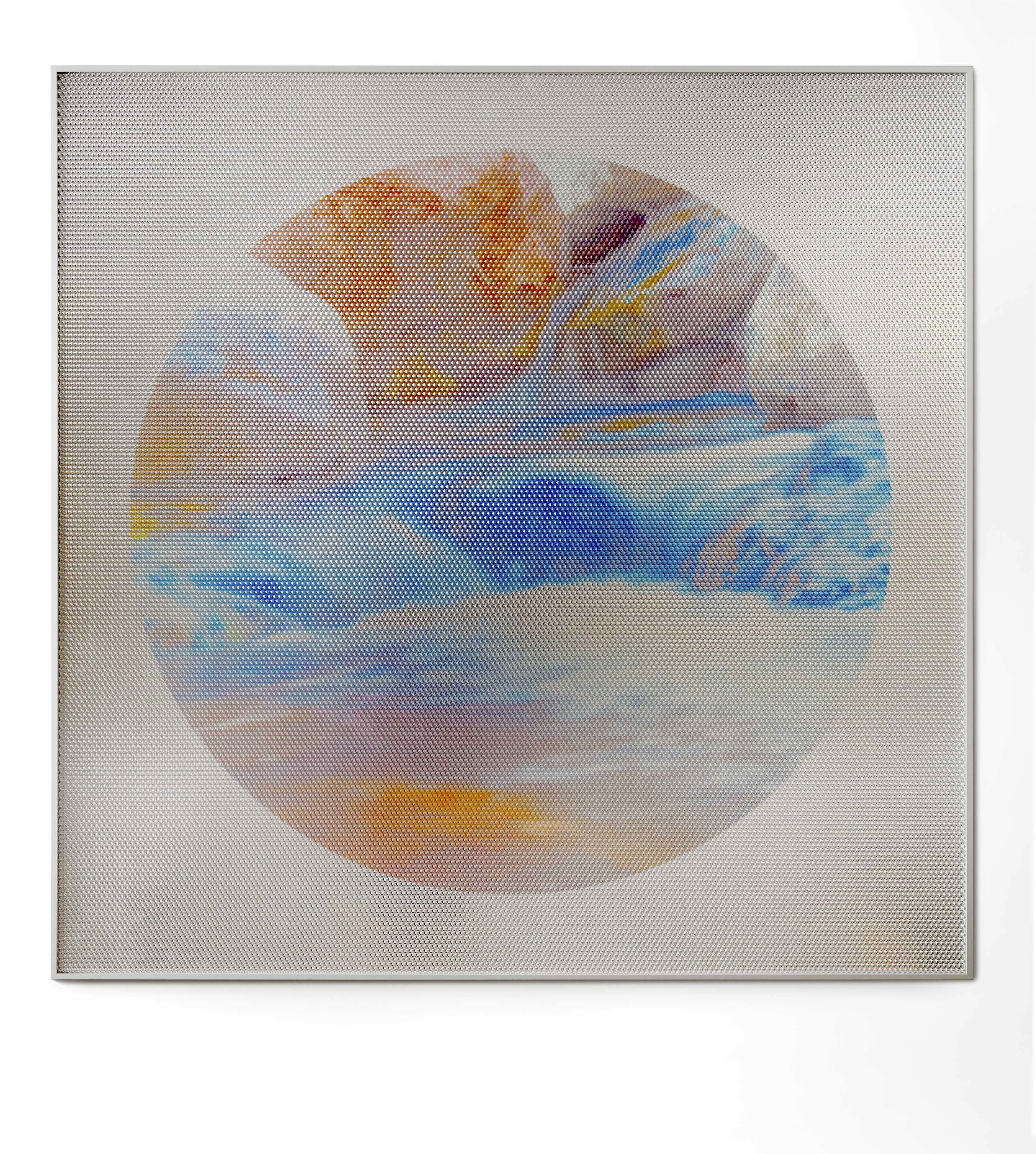 Beyond the Oecumene / Part XXVII,  2019 Aquarelle, wax pastels, UV-print on mirror beneath structured Plexiglas 120 x 120 cm (47 x 47 in)