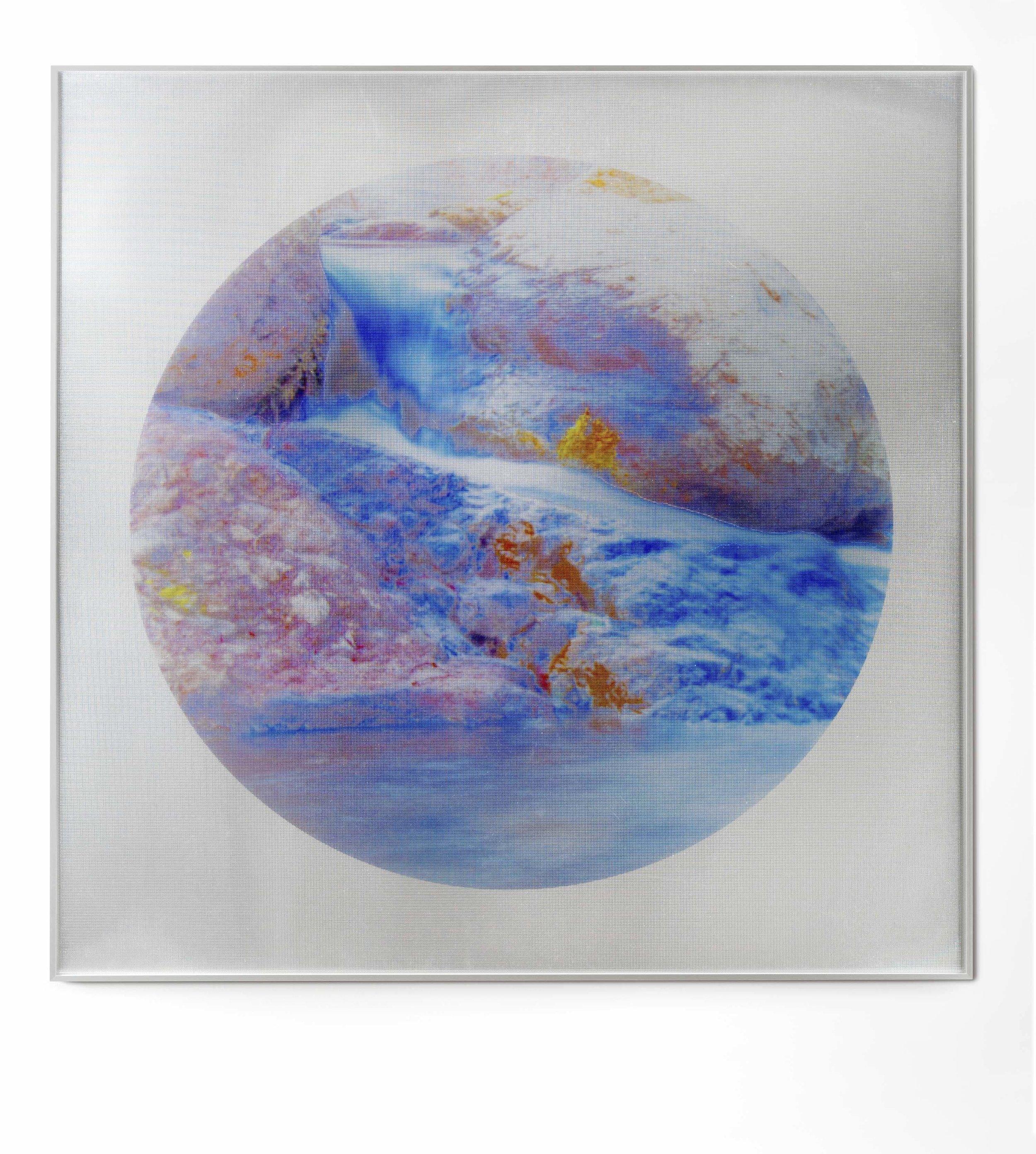 Beyond the Oecumene / Part XXVI,  2019 Aquarelle, wax pastels, UV-print on mirror beneath structured Plexiglas 120 x 120 cm (47 x 47 in)
