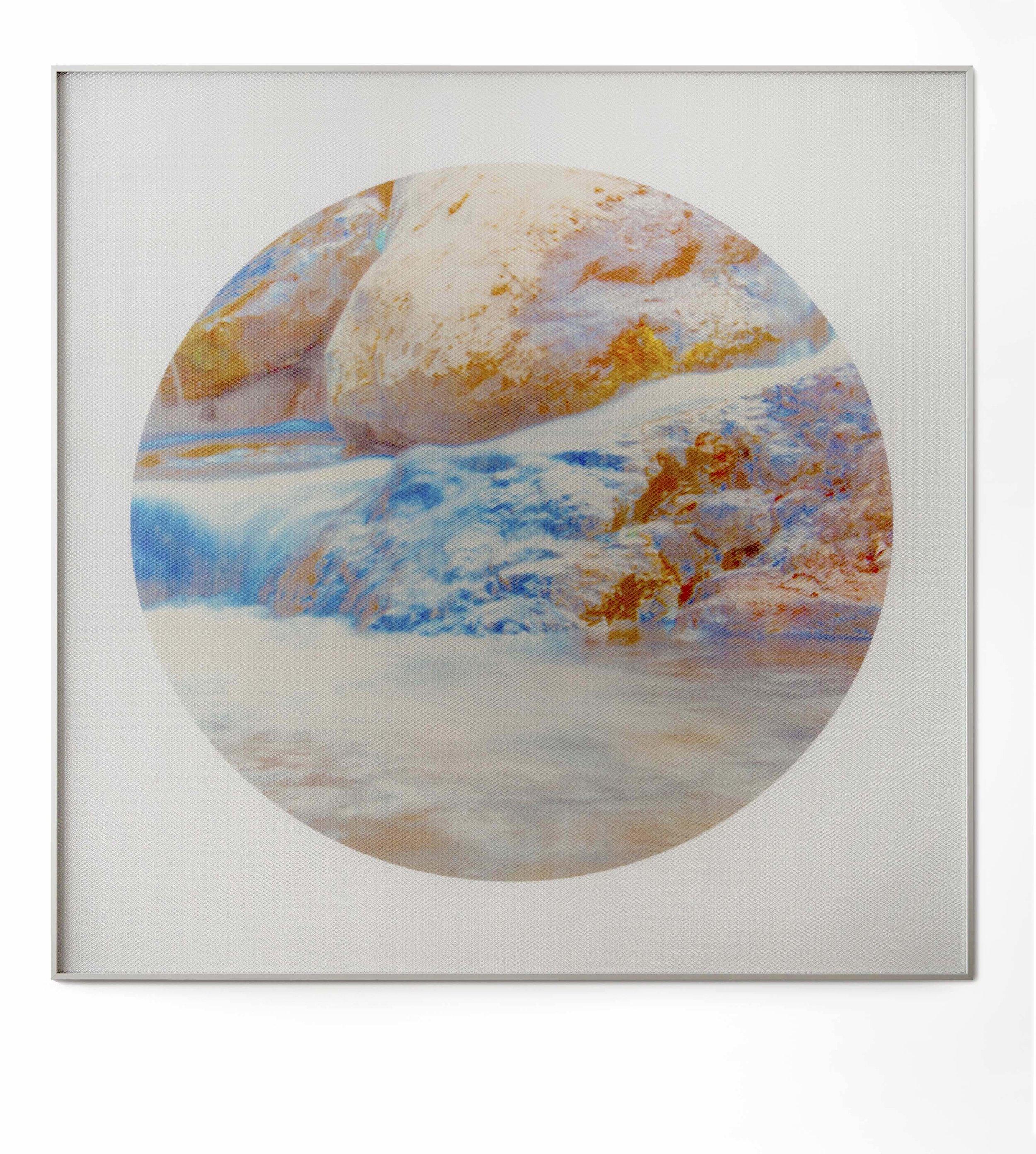 Beyond the Oecumene / Part XXVIII,  2019 Aquarelle, wax pastels, UV-print on mirror beneath structured Plexiglas 120 x 120 cm (47 x 47 in)