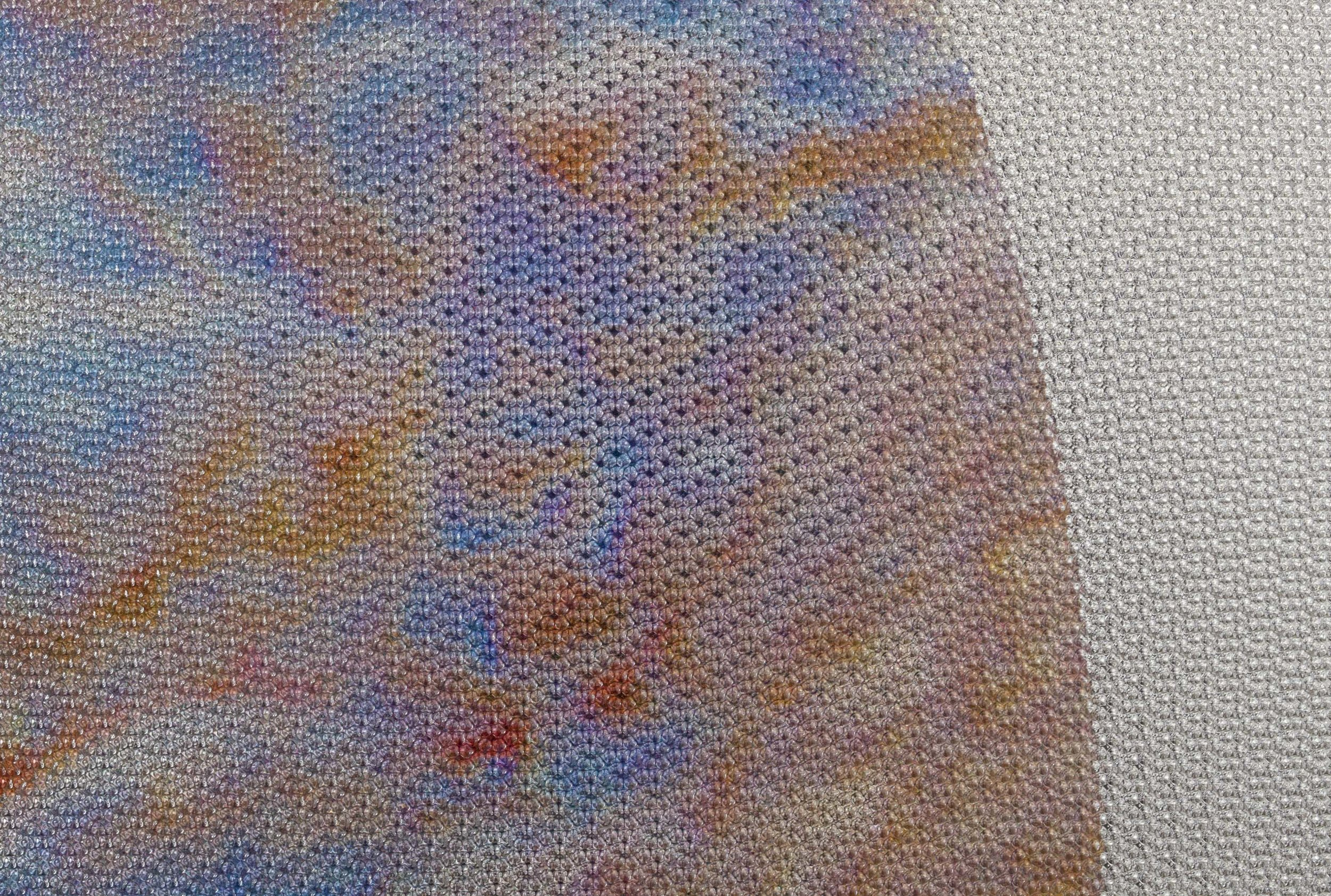 Beyond the Oecumene / Part XXVIII,  2019 - Detail Aquarelle, wax pastels, UV-print on mirror beneath structured Plexiglas