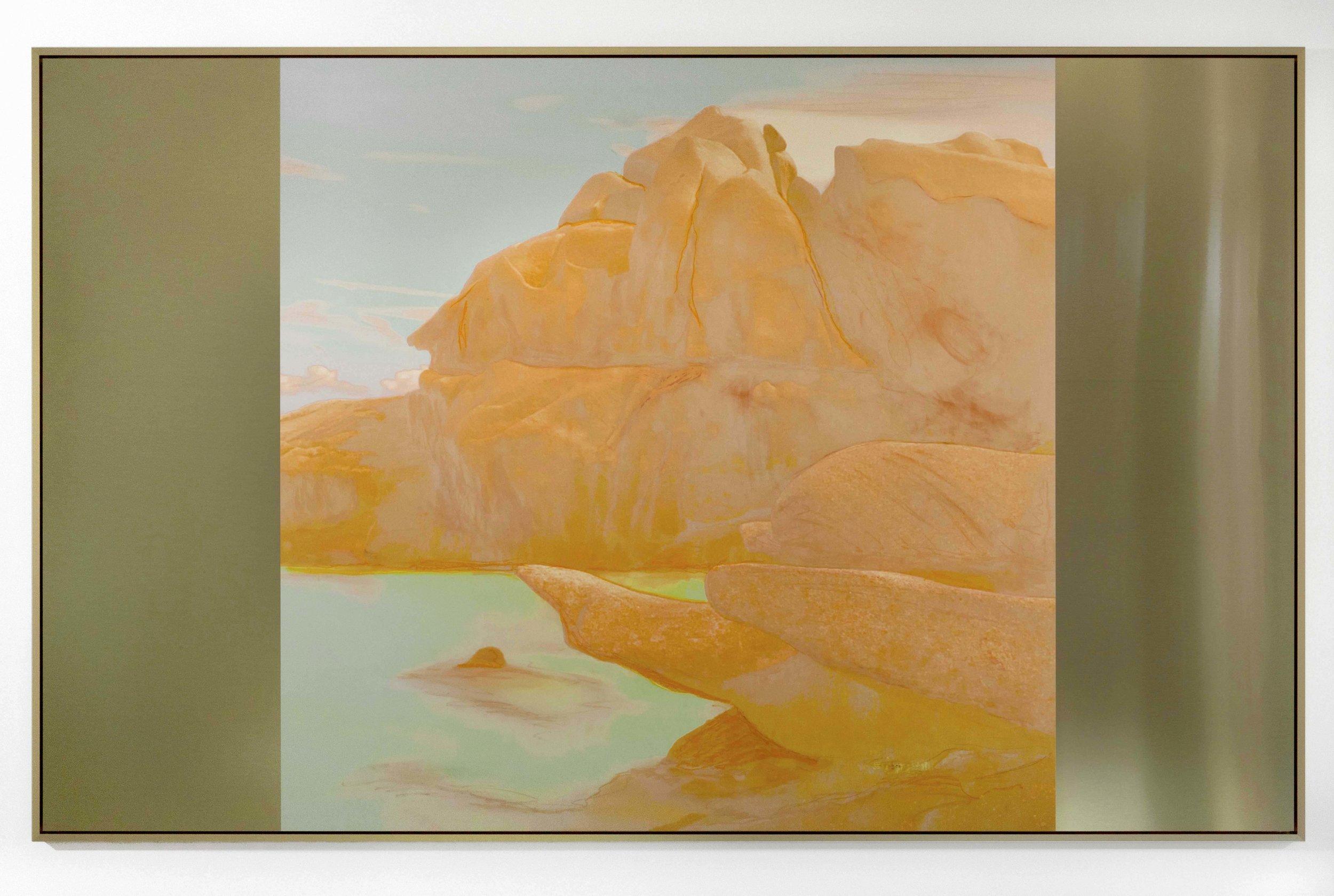 Beyond the Oecumene / Part XIII,  2019 Wax pastels, UV-print on gold Alu-Dibond 210 x 130 cm (83 x 51 in)