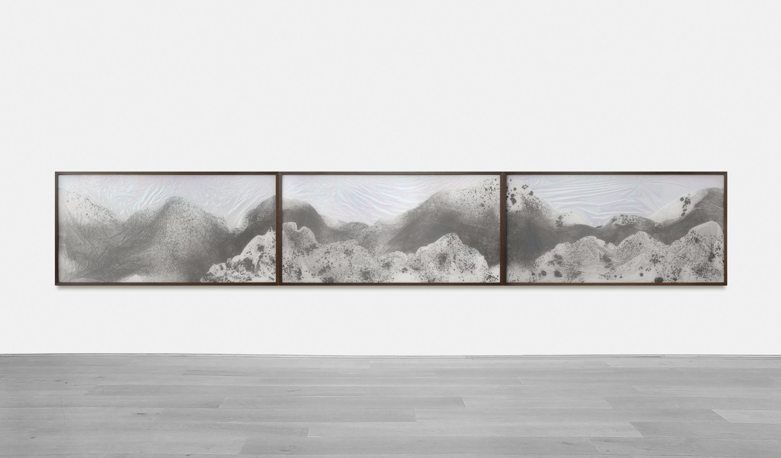 Substitute for Sorrow / Part V (Triptych) , 2018 - Installation view  Calligraphy ink on Xuan paper, dichroic film beneath marbled Plexiglas 540 x 90 cm (213 x 35 in)