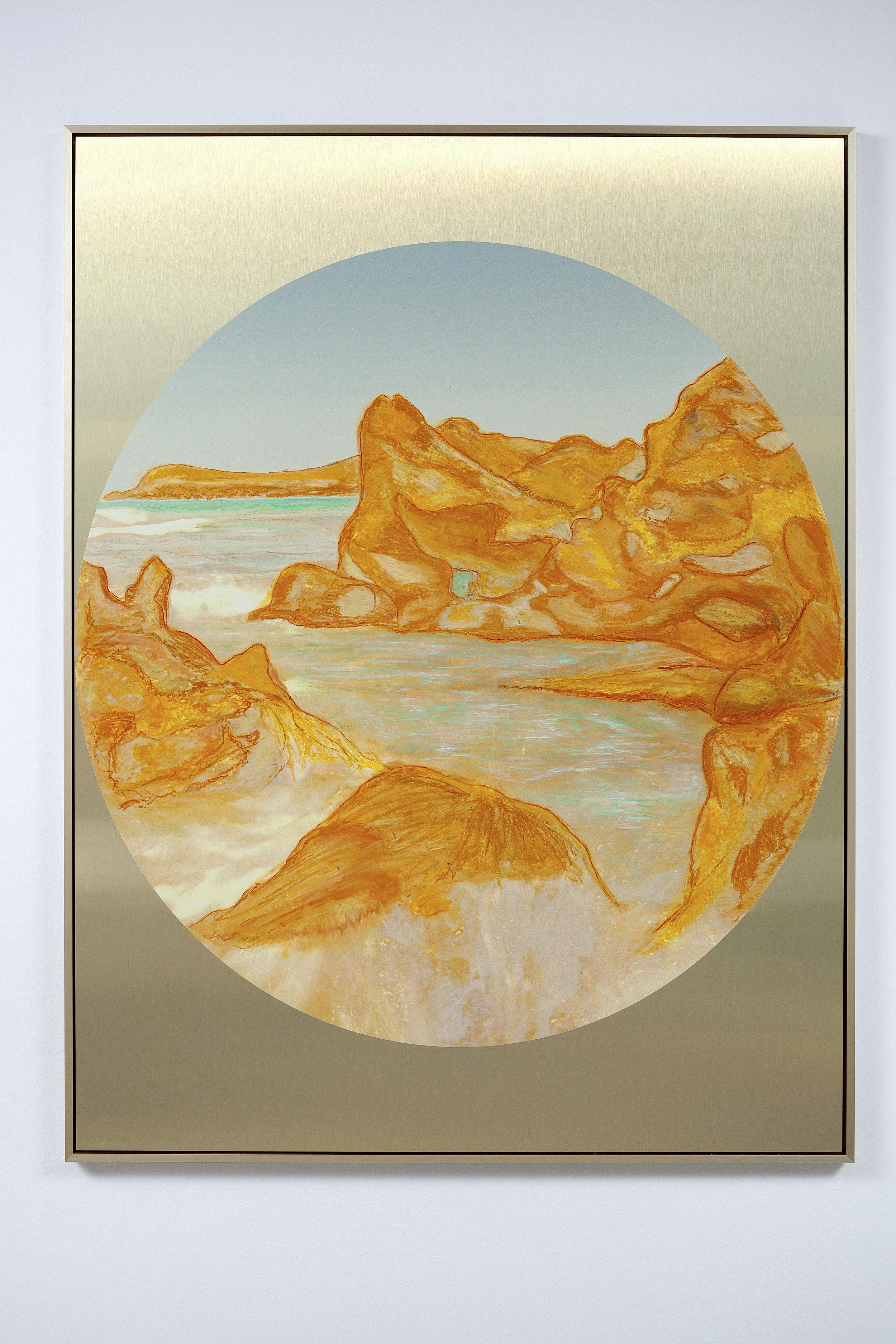 Beyond the Oecumene / Part XI,  2019 Wax pastels, UV-print on gold Alu-Dibond 160 x 120 cm (63 x 47 in)